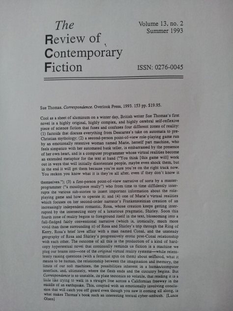 Review of Contemporary Fiction Summer 1993