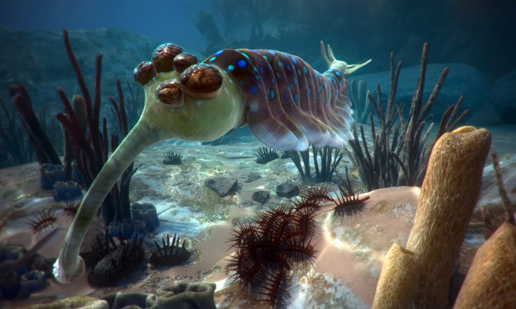 David Attenborough's VR film First Life features ancient sea creatures such as opabinia. Photograph: Atlantic Productions/Alchemy VR