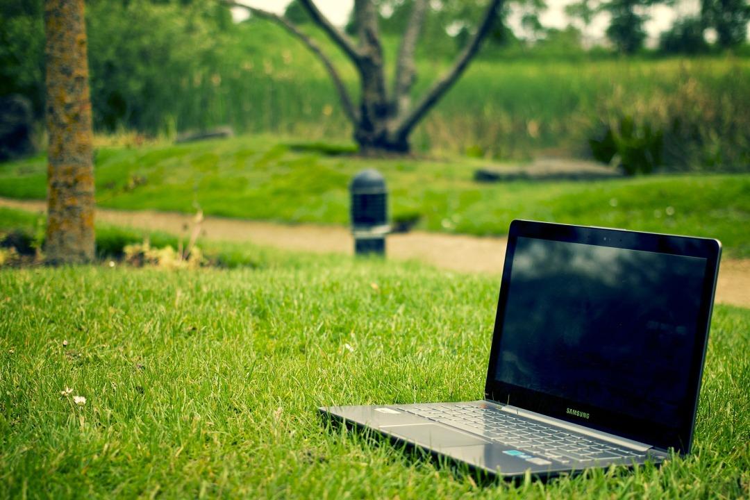 notebook on grass