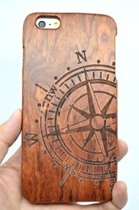 RoseFlower® iPhone 6S 4.7'' Wooden Case - Rosewood Compass - Natural Handmade Bamboo / Wood Cover £12.99*