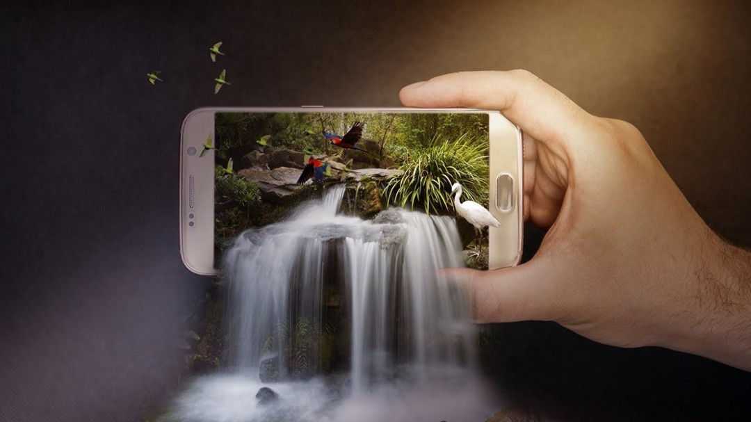 "Project Name-""3D Waterfall On Mobile(3D Pop Out Effect) Photo Manipulation In Photoshop — Photoshop CC"""